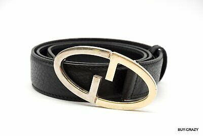 AU210.21 • Buy GUCCI Belt Leather GG Logo Silver Gold Combination Buckle Black 2113k