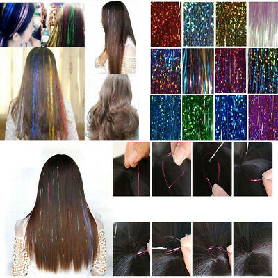 Strands Holographic Sparkle Hair Tinsel Glitter Extensions Dazzles 48  Long • 1.49£