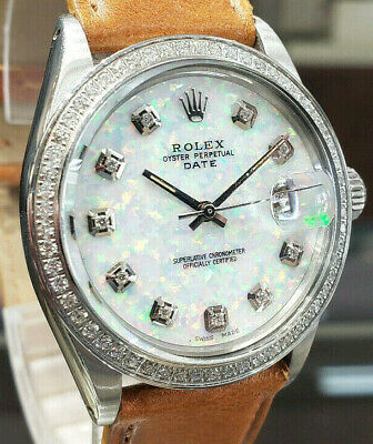 $5838.40 • Buy Mens Vintage ROLEX Oyster Perpetual Date 34mm WHITE OPAL Dial Diamond Stainless