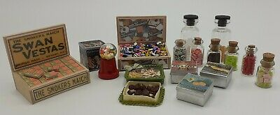 Dolls House Sweet Shop Items - Chocolates, Sweet Jars And Biscuit Tins • 21£