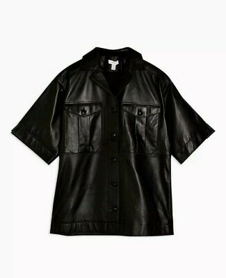 Short Sleeve Topshop Boutique Genuine Real Black Leather Shirt RRP£175 • 36.99£