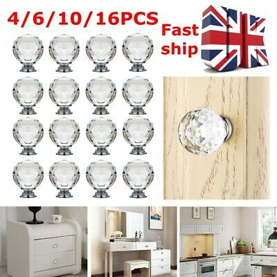 Clear Crystal Diamond Glass Door Knobs Cupboard Drawer Handle UK FAST SHIP • 6.28£