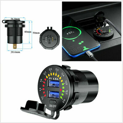 $14.81 • Buy 5V 4.8A Dual-USB Car Fast Charging Charger Socket Black Voltmeter Display Parts