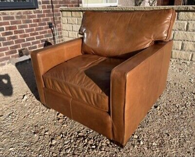 Halo Viscount Leather Tan Armchair Chesterfield  🚚 🇬🇧 • 575£
