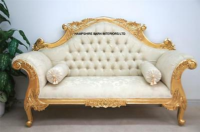 Double Ended Gold & IVORY French  Louis Ornate Chaise Longue Sofa Home Wedding • 899£