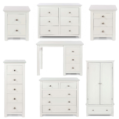 £79.99 • Buy Solid Wood Bedroom Furniture White Toughened Glass Top Wardrobe Chest Bedside