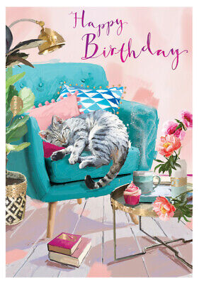 Birthday Card - Cat Nap - At Home Ling Design Female Quality NEW • 2.69£