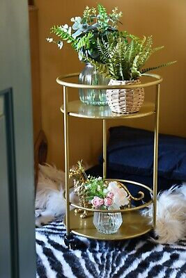 £79.99 • Buy Small Gold Round Drinks Trolley 65cm Tall Art Deco Bar Cart
