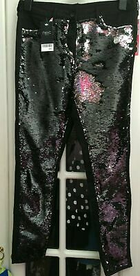 New NEXT Black & Silver SPARKLY SEQUIN EMBELLISHED XMAS Skinny Jeans Size 14  • 35£