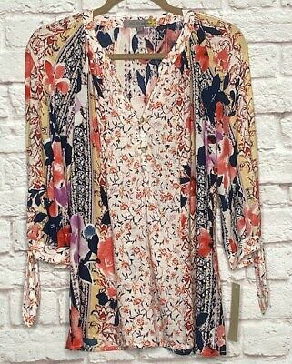 $ CDN44.50 • Buy Small/Medium New Anthropologie White Yellow Red Blue Print Tunic Blouse Top