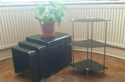 3 Modern Smoked Black Glass Curved Rounded Gloss Nest Of Tables & Corner Stand • 50£
