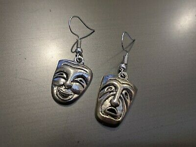 £1 • Buy Tibetan Silver Theatre Masks Comedy And Tragedy Earrings