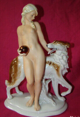 $ CDN504.93 • Buy Large Antique Porcelain Figurine Germany Girl With Dog 20s Rare