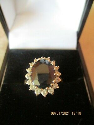 Stunning Vintage 9ct Gold 375 Sapphire & CZ Ring UK Size M In Superb Condition • 75£