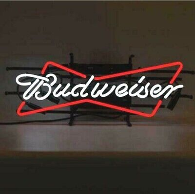 $ CDN113.03 • Buy New Budweiser Bowtie Bow Tie Real Glass Neon Sign Beer Bar Light Home Decor
