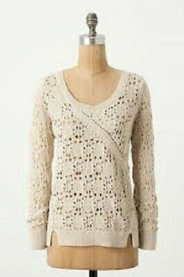 $ CDN3.81 • Buy Knitted & Knotted Anthropologie Collected Stitches Pullover Sweater In Beige S