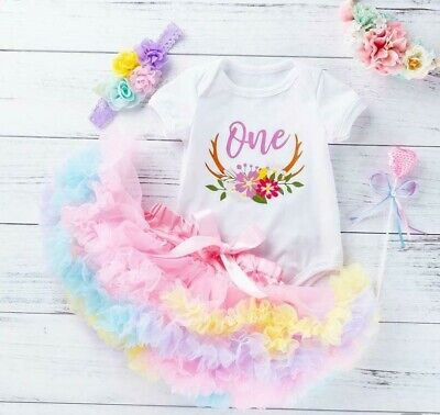 AU38.50 • Buy Baby Girl Multicolour 1st Birthday Outfit Romper Tutu Cake Smash Photoshoot 3 Pc