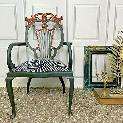 Antique Accent Chair Throne Chair Ornate Carvings Black • 395£