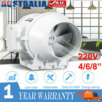 AU35.68 • Buy 4/6/8  Inch Silent Extractor Fan Duct Hydroponic Inline Exhaust Industrial Vent