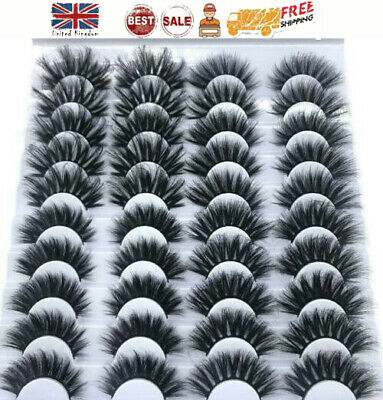 20 Pairs 3D False Eyelashes Wispy Cross Long Thick Mink Fake Eye Lashes UK • 5.31£