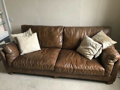 Halo Gable Leather Sofa Tan 3 Seater • 195£