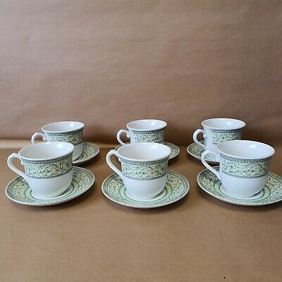 ROYAL HORTICULTURAL SOCIETY APPLEBEE COLLECTION TEA CUPS AND SAUCERS X 6 • 15£
