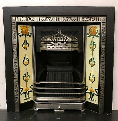Polished Victorian Style Cast Iron Tiled Insert Fireplace • 295£