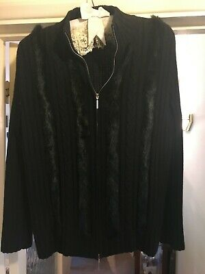 Basler Black Leather Wool And Mink Zip  Cardigan Size 18 • 55£