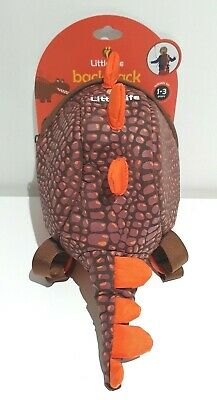 LITTLELIFE Backpack With Rein Dinosaur Brown And Orange Toddler Age 1-3 NEW • 20£