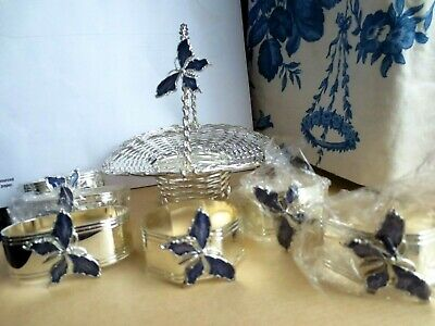 New 6 Napkin Rings & Mini Silver Plated Wire Basket With Enamel Blue Butterflys  • 35.99£