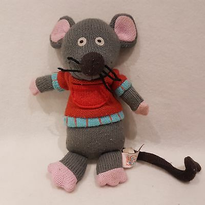 Grey Mouse Knitted Soft Toy Plush By Latitude Enfants SALE Toys Hug M • 11.05£