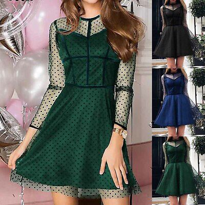 Women Polka Dot Mesh Long Sleeve Skater Dress Ladies Cocktail Party Midi Dresses • 15£