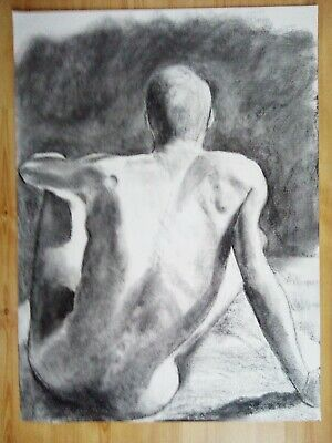 Male Nude Large Original Drawing Charcoal Fine Art Naked Man #64 • 4.99£