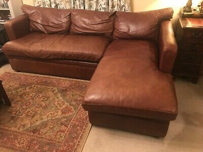 Halo - Brown Real Leather Corner Sofa With Underneath Storage. Seats 3-4 People • 800£