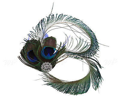 Women Peacock Feather Fascinator Hair Clip Wedding Party Vintage Hair Jewelry • 6.05£