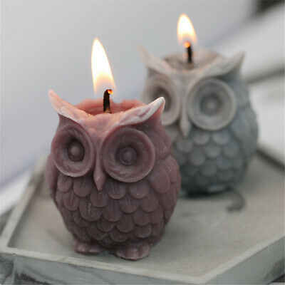 DIY Candles Mould Owl Candle Mold DIY Aromatherapy Candle Making Wax 3D Silicone • 6.04£
