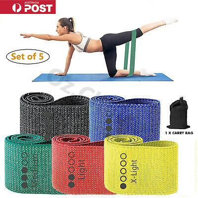 AU23.95 • Buy 5PC Fabric Resistance Booty Bands Non Slip For Butt Legs Thighs Home Gym Workout