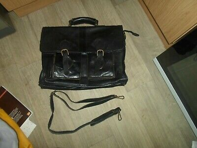 Retro Bouvier  Briefcase Satchel  Large  Black Leather -good Condition • 9.99£