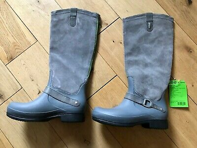 Crocs Ladies Boots Winter Equestrian Tall Hybrid Riding Grey Suede Size 5  • 32.99£