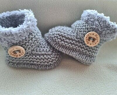 New Baby  Booties  It's A Boy(choice Button) 0-3Months  Hand Knitted Grey Fur • 5.70£