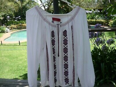 AU19 • Buy TIGERLILY White Boho Peasant Embroidered Blouse/Top  Size 14