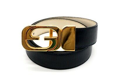 AU209.71 • Buy GUCCI Vintage GG Logo Narrow Belt Waist Mark Leather Navy 3787k