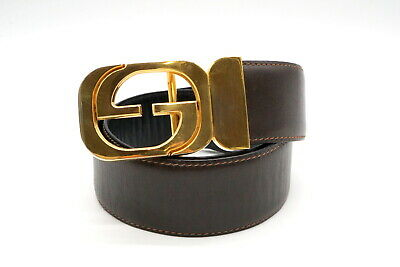 AU251.65 • Buy GUCCI Vintage GG Buckle Reversible Belt Waist Mark Leather Brown Black 3788k