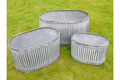 Set Of 3 Oval Galvanised Planter Tubs Indoor Or Outdoor • 104.95£