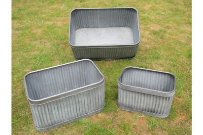 Set Of 3 Galvanised Planter Tubs Indoor Or Outdoor Small Medium And Large • 104.95£