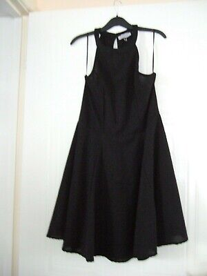 Ladies Thin Sleeveless Circular  Black  Dress Size L Cowe • 3£