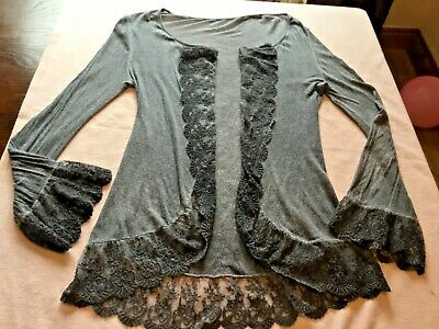Made In Italy,lagenlook,blue/grey Lace Waterfall,cardigan//top~12-14 • 4£