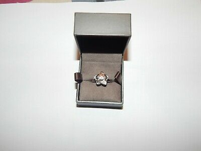 Clogau Gold Petal Silver And Gold Ring With White Stones. • 30£