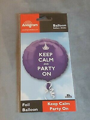 Keep Calm And Party On Purple Circle Foil Balloon  • 2£