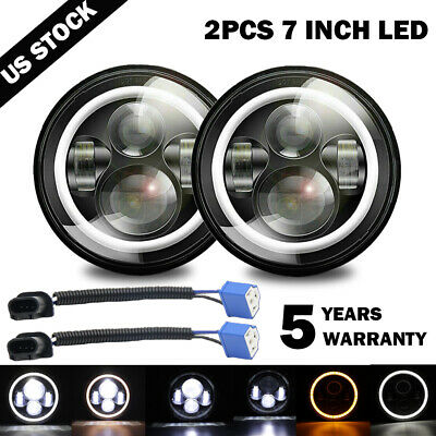 $44.99 • Buy Pair 7  Inch Round LED Headlights Halo Angle Eyes For Jeep Wrangler JK LJ TJ CJ